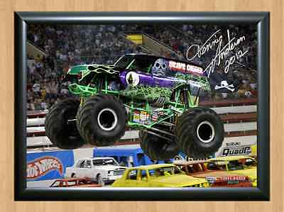 Grave Digger Dennis Anderson Monster Jam Truck Signed Autograph A4 Poster Photo