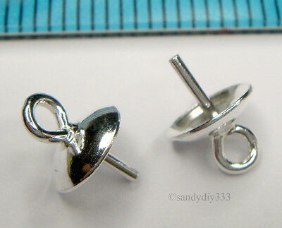 10x BRIGHT STERLING SILVER PENDANT CLASP PEARL BAIL PIN 6mm CONNECTOR #1254