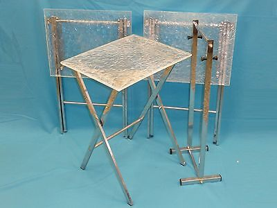 3 Mid Century Modern Chipped Ice Lucite Chrome Leg  Folding Snack Tables + Stand