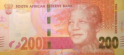 "New South Africa R200 note NELSON MANDELA with Leopard 2012 BANKNOTE ""AA Series"""