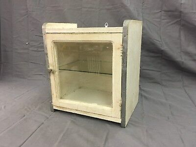 Small Antique Medicine Cabinet Cupboard Glass Shelf Chrome Trim Bathroom 3319-14