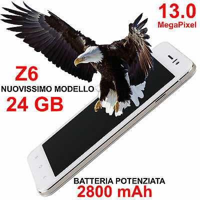 CELLULARE SMARTPHONE Z6 SOTTILISSIMO ANDROID 4.4.2 DUAL SIM UMTS QUAD CORE NUOVO