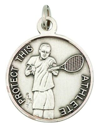 """Saint St Christopher Protect This Athlete 15/16"""" Sterling Silver Tennis Medal"""