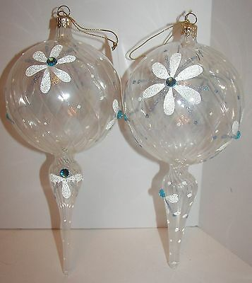 Lot of 2 Beautiful Italian Blown Glass Clear Pendant Ornaments with Jewels