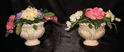 Nwt Top Designs Pair Of Mini Victorian Pink White Yellow Silk Arrangement #3