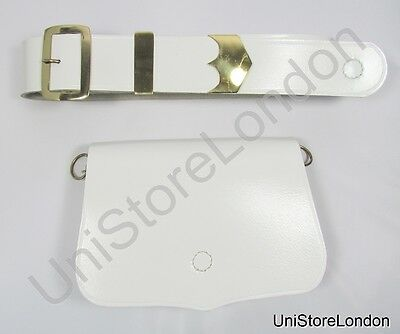 Music Card Pouch Cross Belt White Leather Gold Fittings R1412