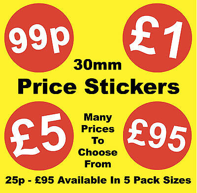 30mm Red Shop Display Price Point Stickers / Sticky Labels / Swing Tag Labels