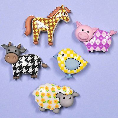DRESS IT UP Buttons Funky Farm 7693 - Embellishments Pig Sheep Horse Cow Bird