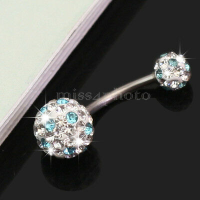 Pretty Crystal Ball Beads Surgical Steel Belly Navel Ring Bar Body Piercing New