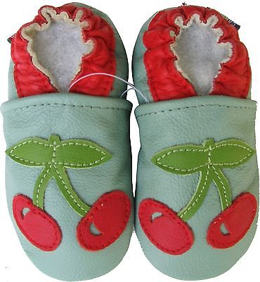 carozoo cherry green 12-18m soft sole leather baby shoes