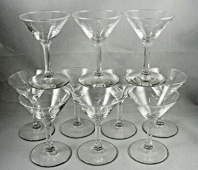 Crystal Sherry Multi-Sided Clear Stem Cut Glass Stars Vintage (Set of 10)