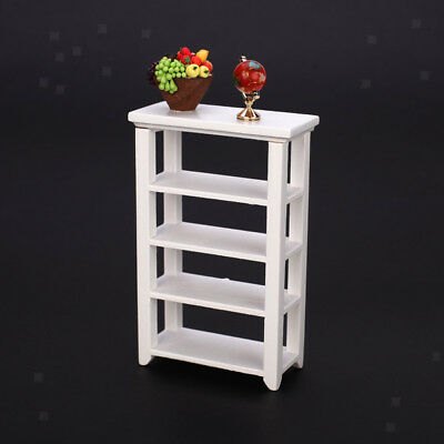 Premium Wood Dollhouse Shelf White Miniature Store Display Living Room Furniture