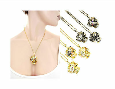 Fashion Jewelry Women Skull Floral Pendant Necklace Chain Punk Goth Casual Edgy