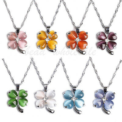 1Pc FunCat's Eye Opal Heart Clear Crystal Silver Plated Four-leaf 18KGP Necklace