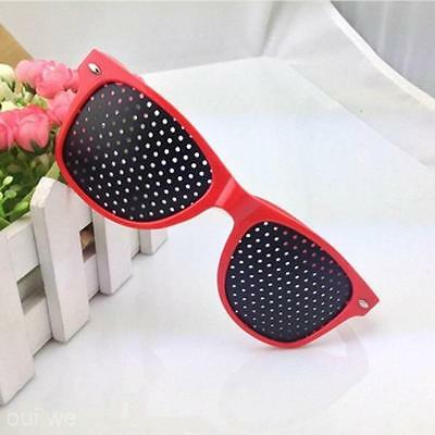Red Frame Vision Care Improver Pinhole Glasses Anti-fatigue Stenopeic Glasses