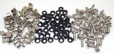"Box of 50x M6 Cage Nuts, 16mm Screws & Washers 19"" Cabinet Rackmount Fixing Kit"