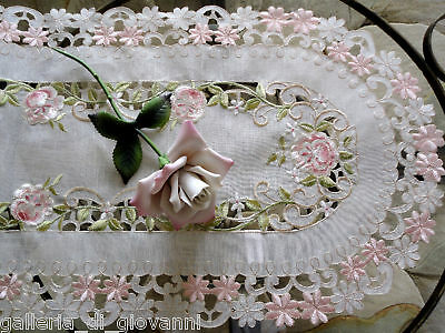 """Pink Princess Rose Sheer  Lace table Runner Doily  53"""""""