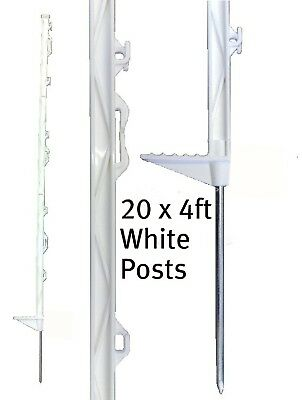 20 X WHITE 4FT POSTS 140cm Tall Electric Fencing Fence Horse Stakes Poles 4 5ft