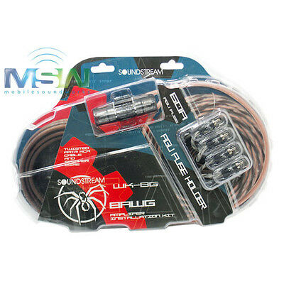 SOUNDSTREAM® WK-8G 8 AWG GAUGE COMPLETE CAR AMPLIFIER AMP WIRE KIT w/ RCA CABLES