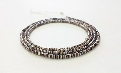 Black Olive Shell Heishi Beads (2 - 3mm / 24 Inches Strand)