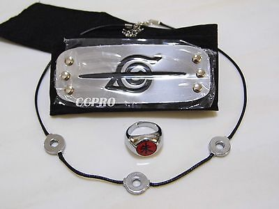 Naruto Uchiha Itachi's cosplay kit anti-leaf headband+ring+necklace 3 items/kit!