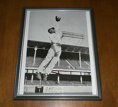 Jackie Robinson Framed B&w In Action Jumping Print