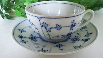 VINTAGE CHINA BLUE & WHITE FLORAL TEA CUP AND SAUCER MARKED HK