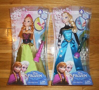 "Disney Frozen ELSA & ANNA Dolls 12"" CORONATION DRESS SPARKLE Color Change Magic"