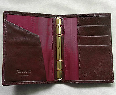 New Filofax Wallet Kid Leather Slim Pocket File Burgundy Organiser 11Mm Diameter