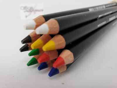 12 x MIXED COLOURS Staedtler Glasochrom Chinagraph Lumo Pencil - BRAND NEW