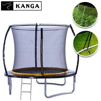 KANGA 8ft Trampoline with Enclosure, Ladder, Winter Cover, Anchor Kit, Shoe Bag