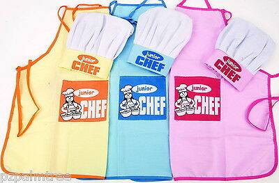 Childs Junior Chef Apron & Hat Childrens Kitchen Baking Bakeoff Cooking Boy Girl