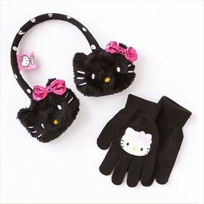BRAND NEW! Hello Kitty Black Earmuff with Sequin Bow and Glove Set SO CUTE!