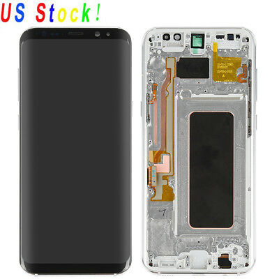 Silver Samsung Galaxy S8 Plus LCD Display Touch Scren Digitizer + Frame Assembly
