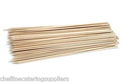 "100x 12"" 10"" 8"" 6"" Pack Wooden Bamboo Skewers BBQ's, Fruit, Fondue"
