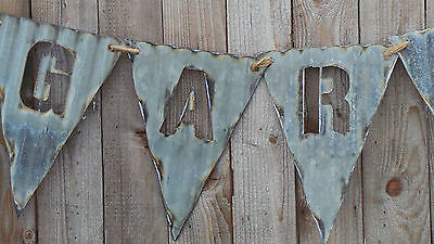 FREE SHIPPING Vintage Style  Corrugated Metal Pendent Flags for Banners