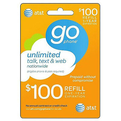 AT&T Go phone $100 Refill. FASTEST REFILL card Credit applied DIRECTLY to PHONE