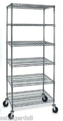 """6-Shelves Wire Rack Metro Style Rolling Display Fixture 74"""" H 24""""x36"""" Shelf NEW"""