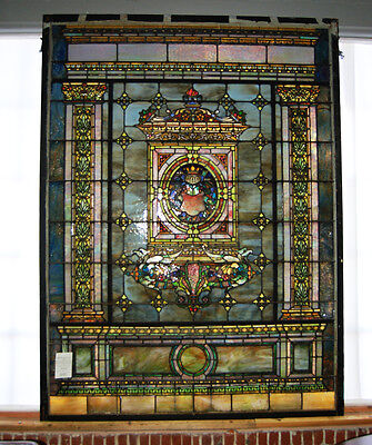 Stained Glass by Tiffany Studios, 8'H. Grand Scale #7713