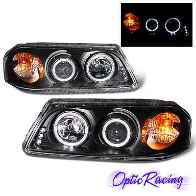 FOR 00-2005 IMPALA DUAL HALO PROJECTOR LED HEADLIGHTS BLACK LEFT+RIGHT PAIR NEW