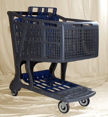 Gray/Blue Large Plastic Grocery Shopping Carts