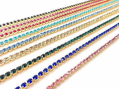 1m Diamante/Rhinestone Crystal Colour Chain Trim Lace Gold Base A Quality