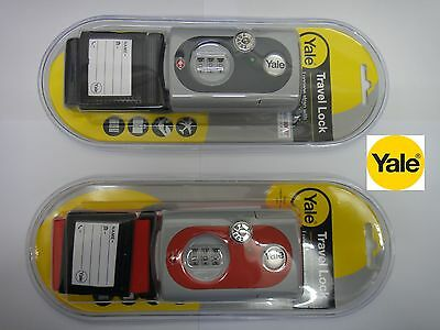 Yale Combination Luggage Travel Strap Tsa Standard Red Or Grey With Id Tag - New