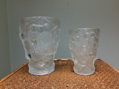2 Barolac Weil Glass Vase Frosted Cherries Art Deco Chechoslovia Josef Inwald