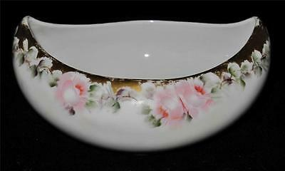 Hand Painted Oval Handled Bowl Pink Roses Signed FLORENCE TAASS Favorite Bavaria