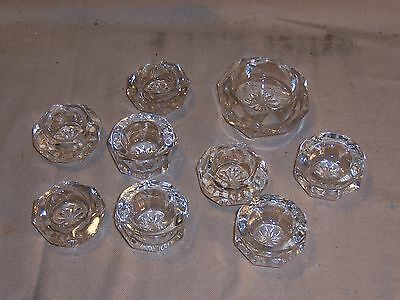 Lot of 9 Vintage Open Salt Cellar Dips Dishes Clear Cut Glass Nice Collection