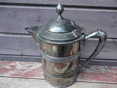 Antique 1868 MERIDEN Silverplate Large Porcelain Lined Pitcher Tankard w Lid