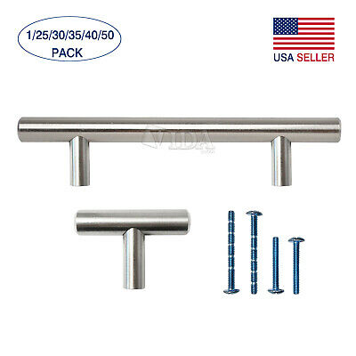 "2"" 4"" 5"" 6"" 8"" 10"" Stainless Steel Kitchen Cabinet Hardware T Bar Pull Handles"