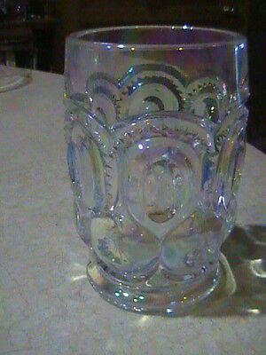 L E Smith Glass Moon & Stars Iridescent Tumbler Signed With S  10 oz