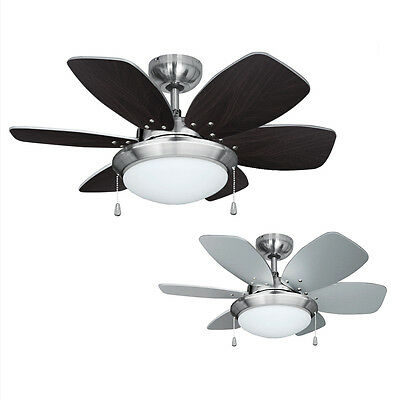 Modern Chrome 6 Blade Ceiling Fan with Light & Reversible Silver or Wood Blades